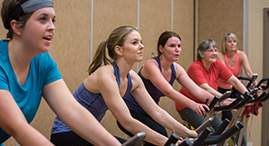 A group cycle fitness class.