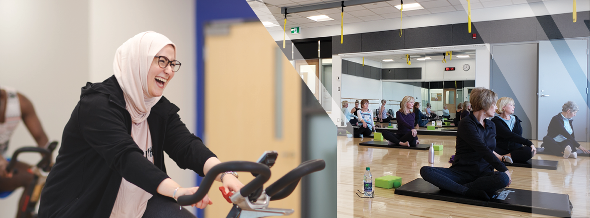 Photo of a women in a cycle class, along side a photo of a yoga class.